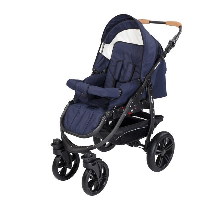Naturkind 1011417 Kinderwagen Varius Pro, Gestellfarbe schwarz, Comfort-SOFT Bereifung Design: Kornblume