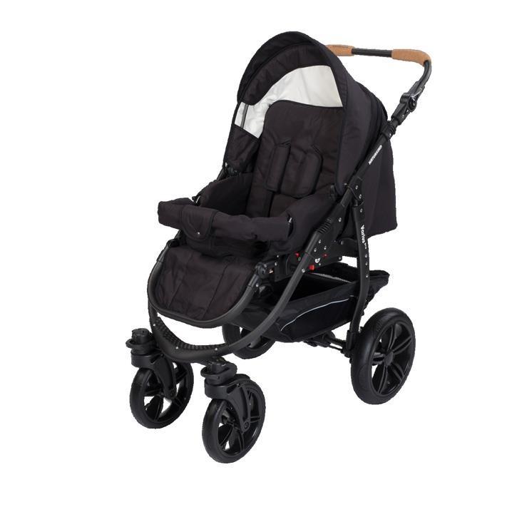 Naturkind 1011422 Kinderwagen Varius Pro, Gestellfarbe schwarz, Comfort-SOFT Bereifung Design: Panther