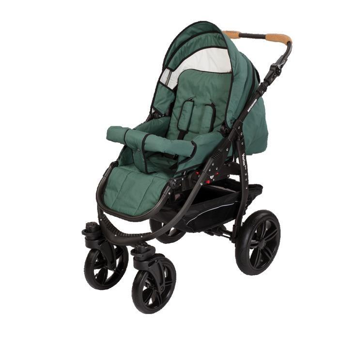 Naturkind 1011439 Kinderwagen Varius Pro, Gestellfarbe schwarz, Comfort-SOFT Bereifung Design: Salbei