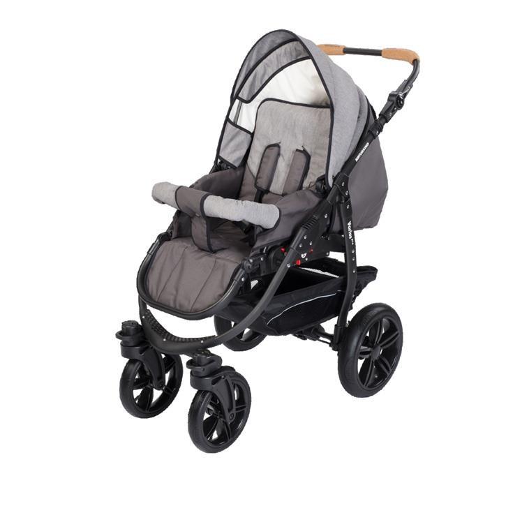 Naturkind 1011442 Kinderwagen Varius Pro, Gestellfarbe schwarz, Comfort-SOFT Bereifung Design: Waschbaer