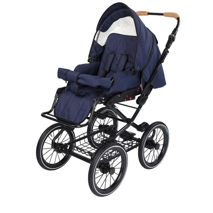 Naturkind 1081317 Kinderwagen VITA mit 14 Zoll Luftrad, Gestellfarbe schwarz Design: Kornblume