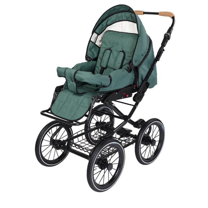Naturkind 1081339 Kinderwagen VITA mit 14 Zoll Luftrad, Gestellfarbe schwarz Design: Salbei