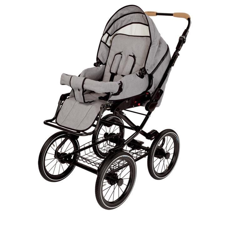 Naturkind 1081340 Kinderwagen VITA mit 14 Zoll Luftrad, Gestellfarbe schwarz Design: Siebenschlaefer