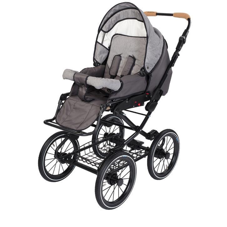 Naturkind 1081342 Kinderwagen VITA mit 14 Zoll Luftrad, Gestellfarbe schwarz Design: Waschbaer