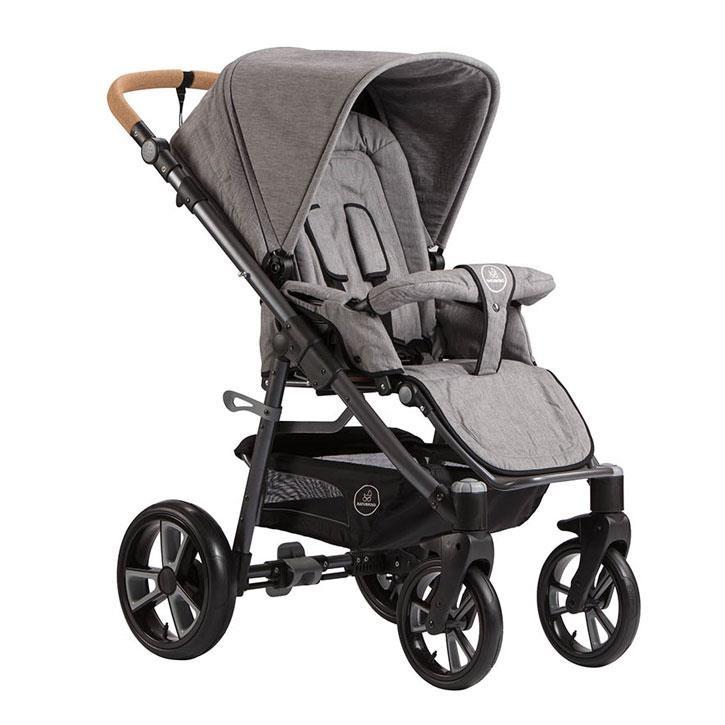 Naturkind 2101740 Siebenschlaefer - Baumwolle Kinderwagen LUX Gestellfarbe dunkelgrau, Comfort-SOFT-Rad, Baumwollfüllung