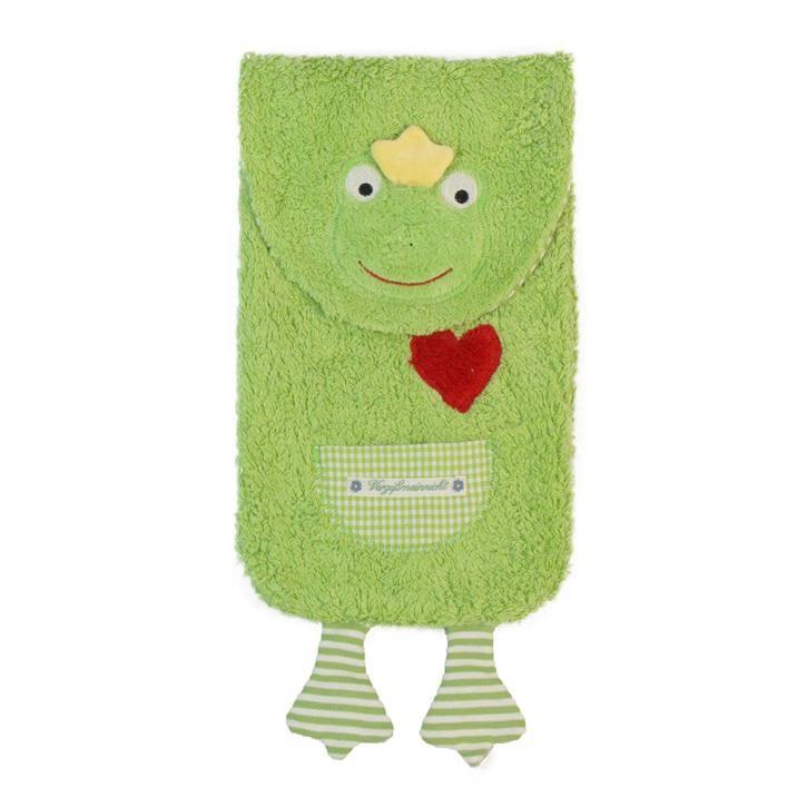 Pat und Patty Frosch mai grün Wärmflasche incl.Naturkautschuk Flasche 18 x 24 cm