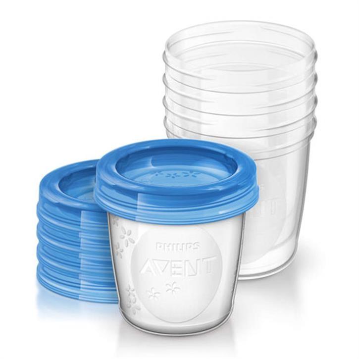 Philips Avent Mehrwegbecher für Muttermilch SCF619/05, 5 Stück, klein