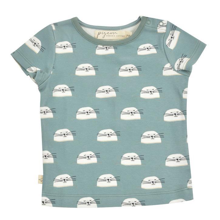 Pigeon Kurzarm Shirt Robbe grün 100% Bio-Baumwolle