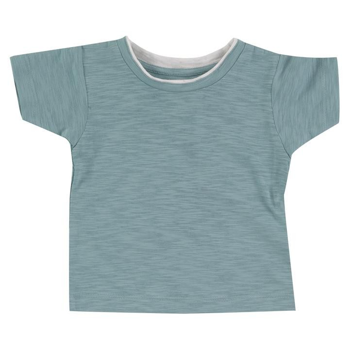 Pigeon Kurzarm türkis, marine Shirt 100% Bio-Baumwolle