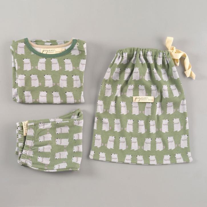 Pigeon Pyjama mit Tasche, Murmeltier, grün