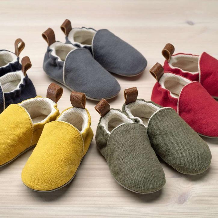Pololo Uni Textil Organic blau, grau, gelb, grün, rot