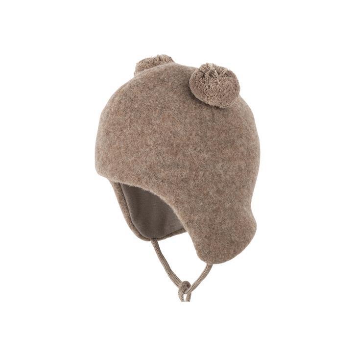 PurePure Baby-2-Bommel-Mütze walnuss