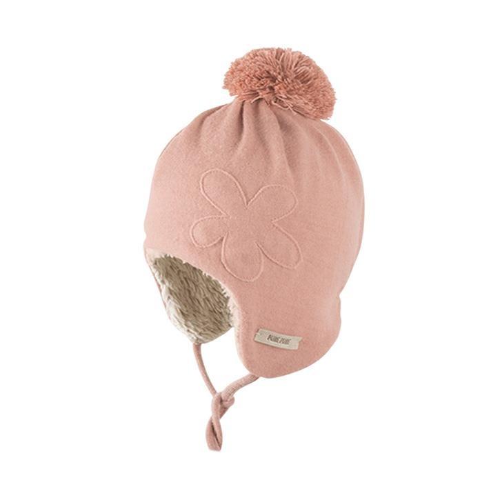 PurePure Baby Bommel-Mütze misty rose 100% Bio-Merinowolle kbT 100% Bio-BW kbA