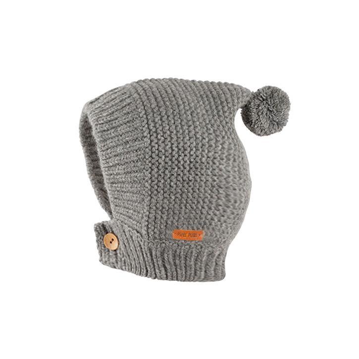 PurePure Baby-Mütze Alpaka grau melange 50%Babyalpaka/50% Merinowolle