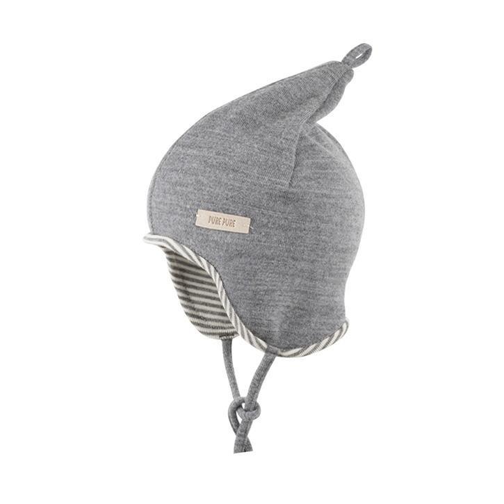 PurePure Baby Zipfel-Mütze silbergrau 100%Bio-Merinowolle kbT 85%Bio-Merinowolle/15%Seide