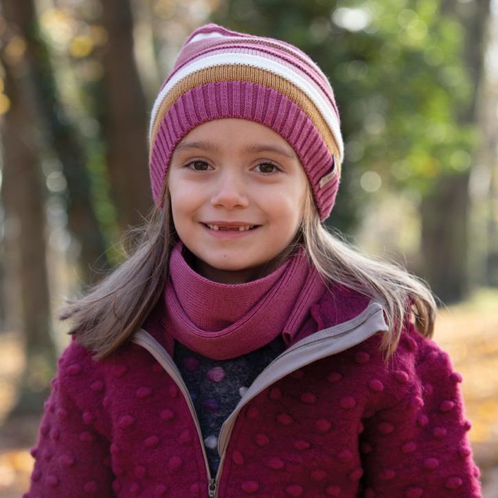 PurePure Kids-Beanie violett fuchsia 55%Bio-WV kbT 22%Bio-BW 23%SE 100% Bio-Merinowolle kbT