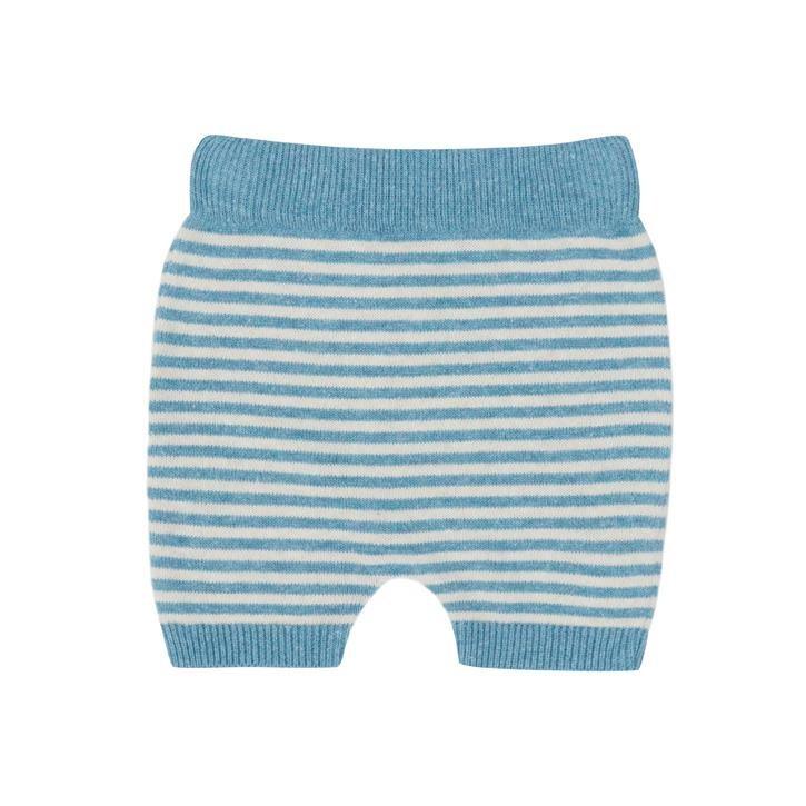 Puri Short Ringel kurze Babyhose mit Leinen  bristol blue/natur