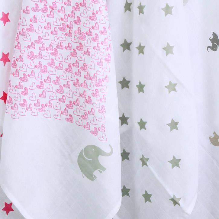 quschel 65x65cm Elefantenherz/Sterne Pink - Mulltücher GOTS