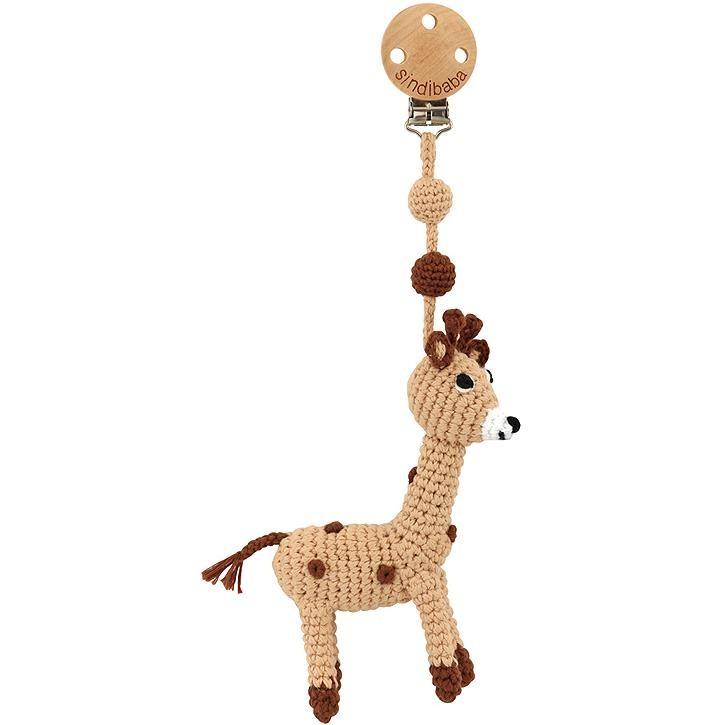 Sindibaba BIO Kinderwagen-Anhänger mit Giraffen, beige  (ca. 25cm)