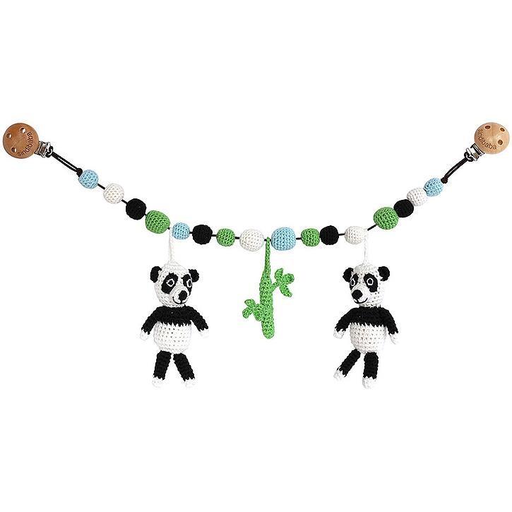 Sindibaba Kinderwagenkette mit Pandas, weiß und schwarz ( ca. 50cm)