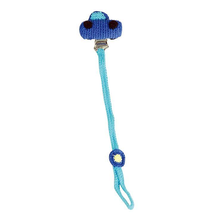 Sindibaba Schnullerhalter mit Auto, blau (ca. 22cm)