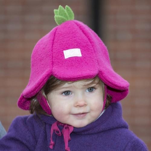 Pickapooh Mütze Blümchen, Wollwalk pink