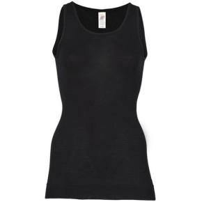 Engel Long-Shirt, ärmellos, schwarz, 70Wolle/30Seide