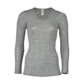 Engel Damen-Shirt, langarm, hellgrau melange, 70Wolle/30Seide