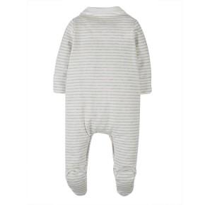 Frugi Babystrampler mit Kragen Grey Marl Stripe/Ducks