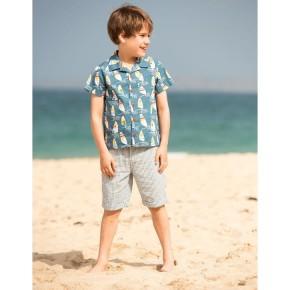 Frugi Harvey Hawaiian Shirt  Steely Blue Ride The Waves