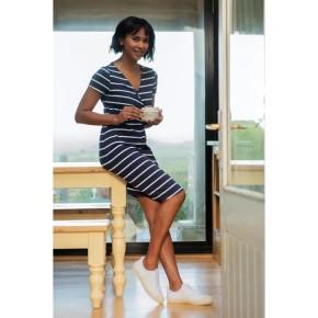 Frugi Ona Maternity & Nursing Wrap Kleid Indigo Breton