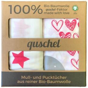 quschel 120x120cm Elefantenherz/Sterne Pink - Pucktücher GOTS